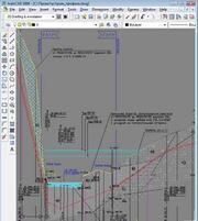 Подводный переход трубопроводом реки Уркан. Продольный профиль перехода (проектирование и оформление выполнены в GeoniCS Plprofile)