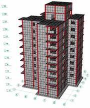 Расчетная КЭ-модель девятиэтажной блок-секции на улице Баррикад в Иркутске