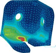 Распределение эквивалентных напряжений в уголке (COSMOS/M)