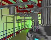 Визуализация фрагментов трехмерной модели химического завода, спроектированнного в PLANT-4D