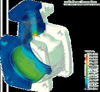 Распределение эквивалентных напряжений в корпусе вентиля, находящегося под действием внутреннего давления (COSMOS/ DesignSTAR)
