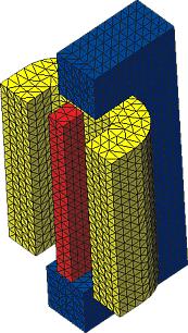 Конечно-элементное представление расчетной области электромагнита (COSMOS/DesignSTAR)