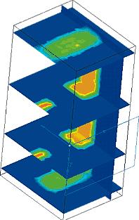 Распределение плотности магнитного потока в отдельных сечениях расчетной области