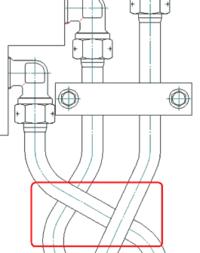 Рис. 12. Изменение Z-уровня для отдельных участков трубопроводов с автоматическим восстановлением исходной графики деталей