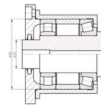 Рис. 8. Пример подшипниковой опоры, состоящей из объектно-зависимых деталей: два подшипника, вал, компенсатор, стакан, запорная крышка с уплотнением