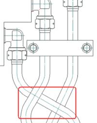Рис. 11. Пересечение 2D-изображения трубопроводов