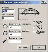 Рис. 4. Параметры купола