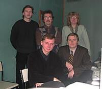 Слушатели - сотрудники «Лентрансгаза» с преподавателем Ю. И. Ананьевым