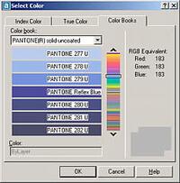 AutoCAD 2004 поддерживает библиотеки цветопроб PANTONE, RAL DESIGN и RAL CLASSIC