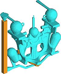 Рис. 5. Сборка модели из отдельных компонентов (формат STL) и преобразование геометрии во внутренний формат LVMFlow