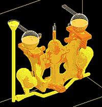 Рис. 12. Соотношение жидкой и твердой фазы в отливке можно наблюдать в течение всего процесса моделирования до полной кристаллизации отливки