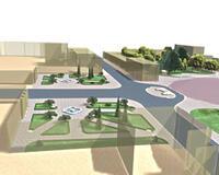 Рис. 34. Фрагмент проектного благоустройства и озеленения площадки перед главным фасадом театра