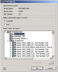 Autodesk Inventor Professional позволяет импортировать плату в виде детали, являющейся совокупностью всех элементов платы, но представленной одной позицией, или в виде узла со всей структурой печатной платы