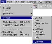 В меню Unigraphics выберите пункт View -> Toolbars -> Customize...