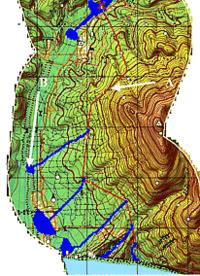 Рис. 2. Пример моделирования разлива нефти в случае аварии на трубопроводе в районе Новороссийска: А -; трубопровод; В - зоны разлива нефти