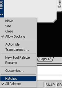 Рис. 28. Выбор группы Hatches для отображения в окне инструментальной палитры