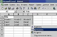 Рис. 34. Выделение таблицы в Excel