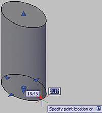 Рис. 12. Изменение длины основания цилиндра при помощи «ручек»