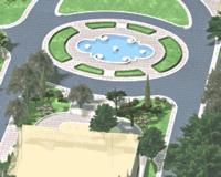 Рис. 33. Фрагмент проектного благоустройства и озеленения площадки у здания морского музея