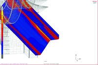 Рис. 7. Моделирование процесса формовки одного из крайних элементов