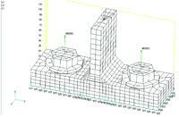Рис. 4.2.1. Общий вид тестовой расчетной модели Т-образного фланца, нагруженного силами по осям болтов (размерность сил – Н, размеров – в мм)