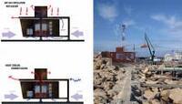 Схемы естественной циркуляции воздуха и компьютерная модель здания, совмещенная с фотографией ландшафта Фото: © Koutsoftides Architects