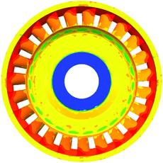 Рис. 4. Поле напряжений в отливке на 800 сек. остывания: а) старая технология