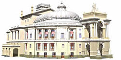 Рис. 10. Фотореалистическая модель театра с присвоенными материалами