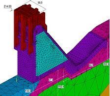 Рис. 4. Расчетные модели секций №21-22 плотины Богучанской ГЭС: а - в ПК STARK ES; б - в ПК ЛИРА-САПР, в - в ПК Ansys