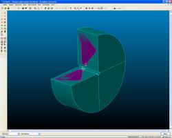 Заготовка для токарной обработки, построенная по сечению модели