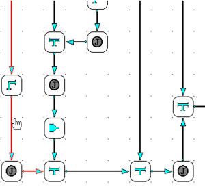 При отрисовке расчетной модели система автоматически показывает проблемные места (в нашем примере малые скорости выделены цветом)