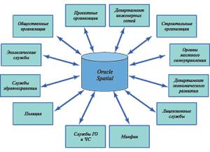 Рис. 1. Все подразделения компании имеют доступ к центральной базе данных, а некоторые из них обеспечивают поддержку своих данных. Этими данными легко управлять с помощью стандартных инструментов доступа Oracle. При таком подходе наиболее точная и актуальная информация доступна всем, кто в ней нуждается