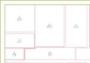 Контуры помещений внутри стен, выполненные в соответствии с произведенными обмерами
