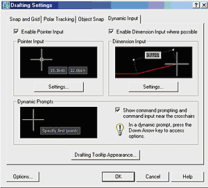 Рис. 7. Новая закладка Dynamic Input позволяет настроить как параметры динамического ввода координат и длин, так и внешний вид подсказок
