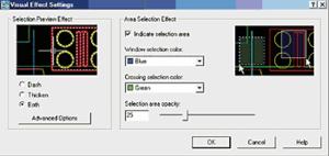Рис. 13. Диалоговое окно Visual Effect Settings позволяет настроить все параметры новых функций выбора объектов