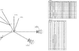 Рис. 9. Оформление таблицы проводов и таблицы диаметров и длин сегментов на поле чертежа бортового электрического жгута (NXRouting Electrical)