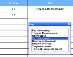 Рис. 20. Информация об уровнях грунтовых вод и консистенции