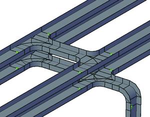 Пример конструирования трасс из лотков обычного типа