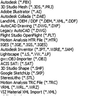 Рис. 1. Форматы, которые поддерживает Autodesk 3ds Max
