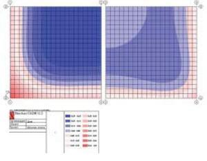 Рис. 5. Контактные напряжения Rz (кг/см2) в исходном состоянии. Нагружение P-dT. Синие тона – положительные (отрыв от поверхности контакта), красные – отрицательные. Левый фрагмент – без анкеров, правый фрагмент – с анкерами
