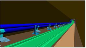 Рис. 2. Трехмерный проект уклонного блока нефтяной шахты, выполненный средствами Model Studio CS Трубопроводы, содержит более 4000 опор и 6 км трубопроводов под уклоном