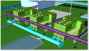 Рис. 5. Фрагмент трехмерного проекта обустройства нефтяного месторождения, содержащий технологическую, электротехническую, строительную части, а также трехмерную модель генплана