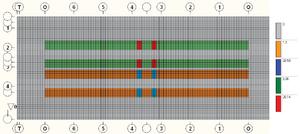Загружение 9, нагрузки от А14 по варианту 2 для главных балок Б3, Б4