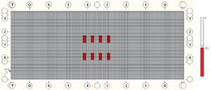 Загружение 12, нагрузки от Н14 по варианту 3 для главных балок Б3, Б4