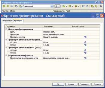 Настройка параметров проектного откоса