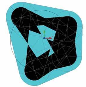 Рис. 6. Контур сечения на заданной высоте в режиме 2D