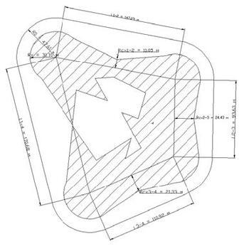 Рис. 9. Зона защиты многократного стержневого молниеприемника. Методика РД 34.21.122-87
