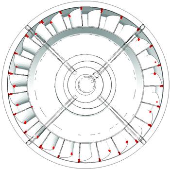 Рис. 2. Результаты расчета НДС отливки «Колесо рабочее ТНД»: б) доля жидкой фазы