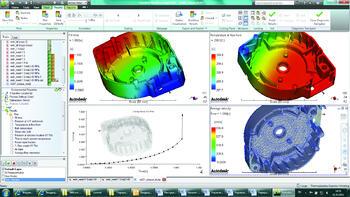 Пользовательский ленточный интерфейс Autodesk Moldflow Insight 2012. В графических окнах – результаты расчета заполнения: растекание расплава (вверху слева), температура фронта расплава (вверху справа), изменение распорного усилия (внизу слева), средняя линейная скорость течения расплава (внизу справа)