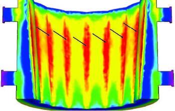 Рис. 10. Моделирование склонности к возникновению трещин в СКМ ЛП ПолигонСофт (опасные зоны выделены красным цветом)